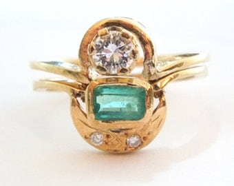 Vintage Yellow Gold Diamond and Emerald Asymmetrical Double Ring in 18K Yellow Gold