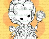 PNG Digital Stamp - Artichoke Sprite - Whimsical Vegetable Fae - digistamp - Fantasy Sprite Line Art for Cards & Crafts by Mitzi Sato-Wiuff