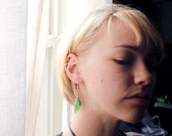 Green Spring Leaf Earrings