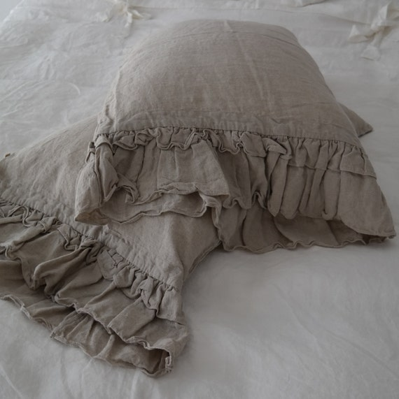 Linen  pillowcase with ruffles standard , queen , king , euro sham , body pillow size. Bed Pillows. Washed & softened. Made by MOOshop.*8