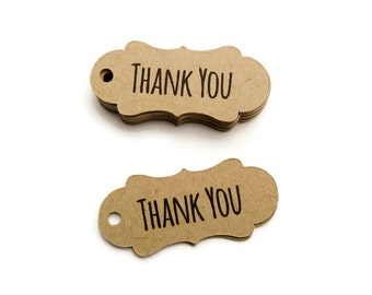 125 Count Thank You Tags - Hang Tags - Bracket Tags - 1.75 x 0.75 inch - Kraft Tags - Wedding Favor Tags - Product Tag - Branding Tag TY2