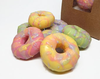 Mini Pastel Donut Soaps - Eight Pack in a Bakery Bag