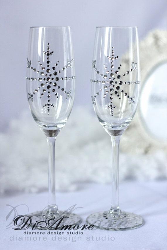 Snowflake champagne glasses winter wedding white wedding etsy