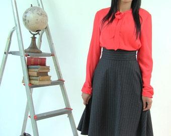 Pinstripe dark gray skirt, knee length skirt, office skirt, business clothes, high waisted skirt, swing skirt