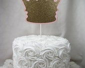 Crown Cake Topper, Princess, Little Prince, Pink and Gold, Handmade, Party Decorations, Princess Party, First Birthday, Tiara - 1 Topper