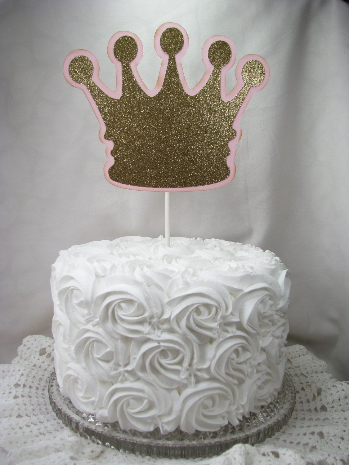 Cake Decoration Crown : Crown Cake Topper Princess Little Prince Pink and Gold