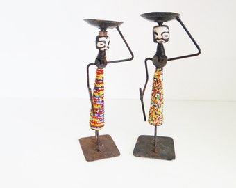Vintage African Figurines Candlesticks Set of Two Folk Art Primitive Handmade Coloured Beads, Metal, Wood