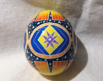 Night Sky Sunset Pysanky egg -- Hand dyed Ukrainian Easter Egg