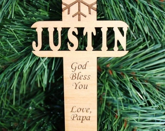 SHIPS FAST, Personalized Christmas Ornament, Wood Christmas Ornament, Engraved Ornament, Custom Ornament, Baptism Gift, Christian Gift ORN12
