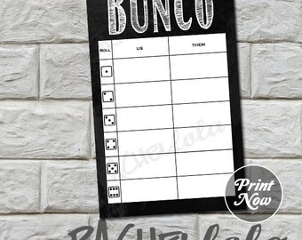 Bunco us/them tally sheets, chalkboard, instant download, Buy 2 Get 1 FREE