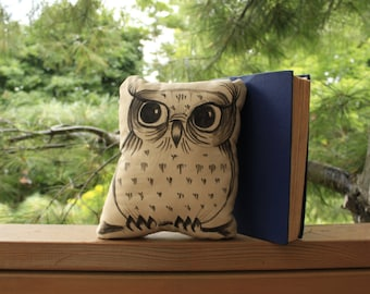 """hand drawn chubby owl pillow - 9"""" illustrated woodlands throw cushion"""