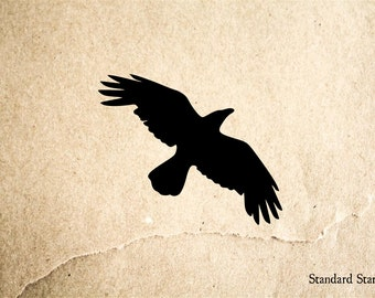 Crow Soaring Rubber Stamp - 2 x 2 inches