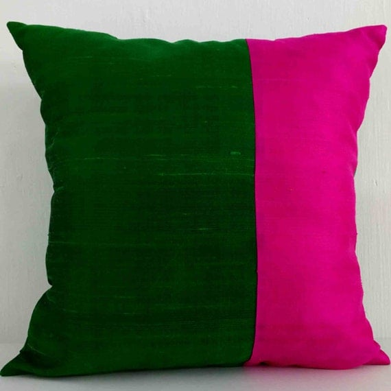 Colour Crush Emerald Green With Pink: Hot Pink And Emerald Green Color Block Raw Silk By