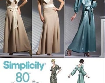 simplicity 3619  Simplicity 80th. Anniversary Misses' Evening Gown with Sleeve Variations  Size (4-12)  UNCUT