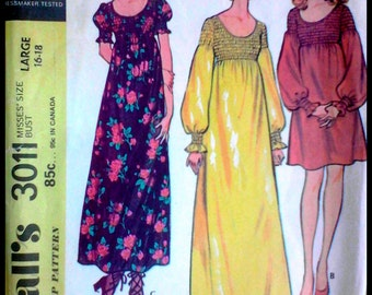 """McCall's 3011  Misses' Dress  Bust 38""""-40"""""""