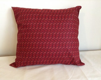 Red pillow cover. 18x18 retro geometric pillow cover.