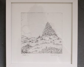 Yorkshire Dales Stone Cairns Etching