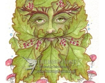 The Green man/Art Print/Celtic Art/Spiritual/Healing art/Man of the woods/Forest/Woodland/Oak leaf/Pagan Art/Art Print