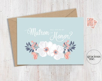 Matron of Honor Card 'Will You Be My Matron of Honor' - Wedding Card, Floral Card - Aqua