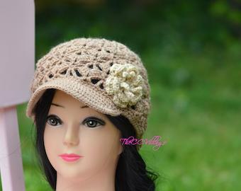 Brown Crochet Womens Hats, Handmade Teen Hat, woman Cap , Crochet Beanie, with beige flower
