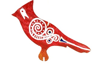 Hand Painted Wooden Ornament- Redbird Tsalagi Cherokee Made