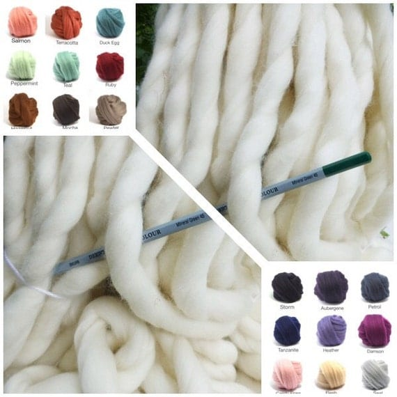 "Giant Chunky Yarn, Super- THICK Yarn, ""Smoosh Yarn"" ™ For Chunky Blankets, Extreme Hand Spun yarn"