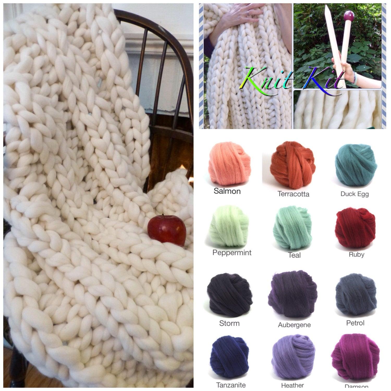 Knit Kit Chunky Blanket 24 Needles 4 Chunky Yarn