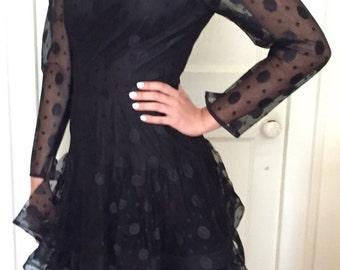 1980's/1990's Scassi Boutique Black Polka Dot Dress
