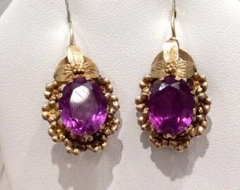 15k Yellow Gold Vintage Amethyst Earrings - Victorian Era - Filigree