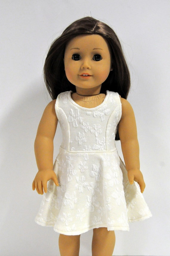Ivory  Cream Off White Floral Print Sleeveless Skater Dress made to fit American Girl Doll 18 Inch Doll Clothes