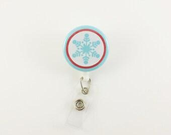 Snowflake - Badge Reel - Retractable ID Badge - Cute Badge Reels - Nurse Badge Holder - RN Badge Reel- Teacher Badge Clip - Christmas Badges
