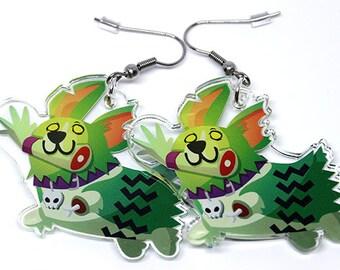 Zombie earrings, Corgi earrings, halloween earrings, zombie apocalypse, corgi lover, corgi lover gift, corgi butt, spoopy