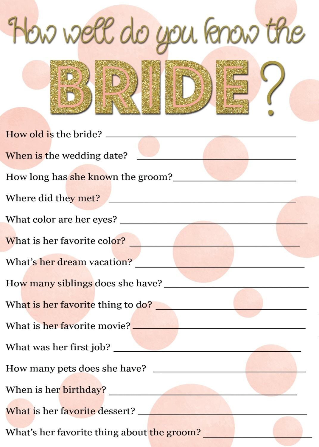 It is a photo of Impeccable How Well Do You Know the Bride Free Printable