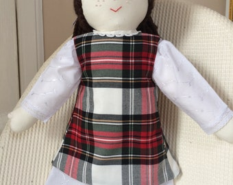 Hand Made Rag Doll with Tartan Pinafore and White Day Dress