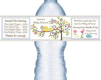21 Happi Tree Owl Baby Shower Water Bottle Labels
