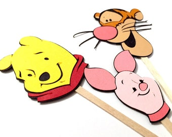 Winnie the Pooh Cupcake Toppers Set of 12 / Winnie the Pooh Baby Shower Tigger Cupcake Topper Piglet Cupcake Topper Party Decorations
