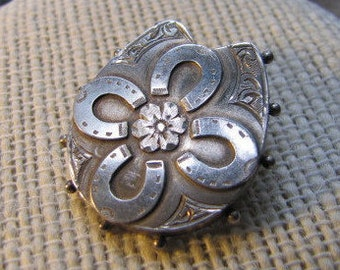 Victorian Good Fortune Broach Sterling Silver