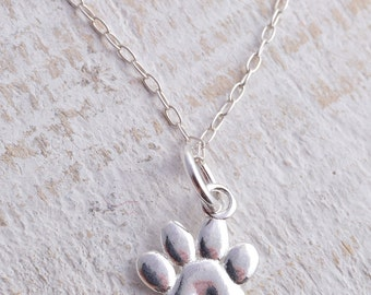Sterling silver cute little paw print pawprint charm necklace 925