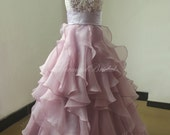 A line Lavender organza ruffled lace wedding dress