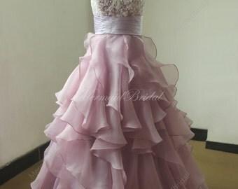 A line Lavender organza ruffled lace wedding dress