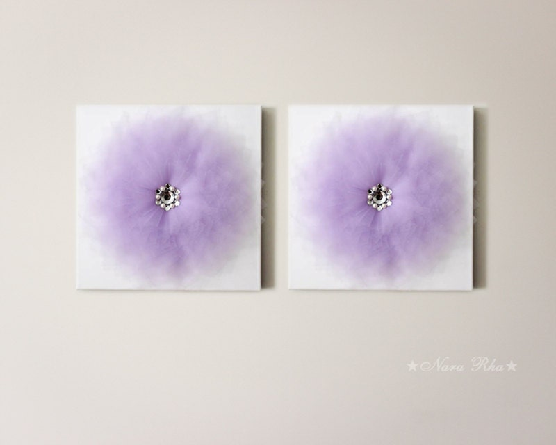 Set of two art canvas flower wall art nursery decor wall for Room decor embellishment art 3d