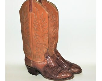 Vintage Dan Post Stitched Leather and Lizard Skin Cowboy Cowgirl Mens Womens Boots