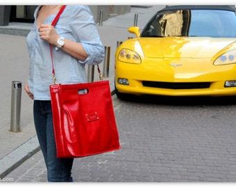 RED TOTE Bag Leather / Large Tote Shoulder Bag / Leather Shopper Bag / Laptop Bag for Women