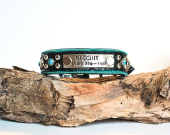 Custom Dog Collar // Leather Dog Collar // Blue Dog Collar // Turquoise Dog Collar