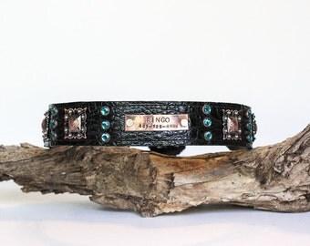 CUSTOM Leather Dog Collar // Black Croc w/ Copper Accents