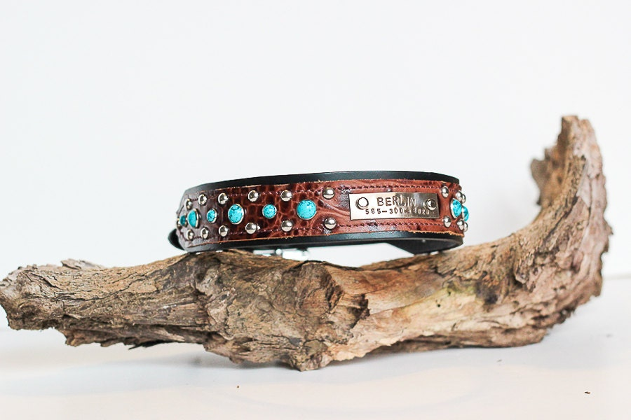 CUSTOM Leather Dog Collar Name Plate and by