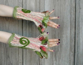 Nuno felted fancy cuffs, wool mittens, wrist warmers, green and salmon, merino wool and fabric with gold and silver thread. OOAK