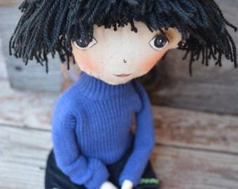 Brunette girl - Handmade rag doll - Fabric doll - Soft doll - Cloth doll - Painted face - OOAK  doll  -  Interior doll.