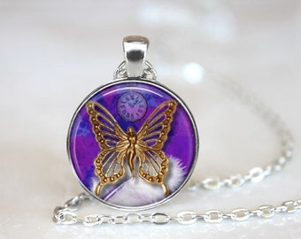 Steampunk Butterfly Pendant Necklace or Pendant Keyring Handcrafted Made to Order One Inch Pendant
