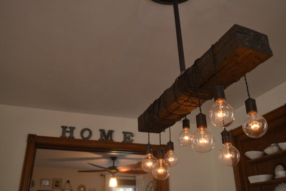 Farm house light pendant lighting wood light kitchen for Ceiling lamp wood